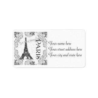 Paris Eiffel Tower French Scrolls Label
