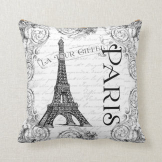Paris Eiffel Tower French Scrolls Throw Pillows