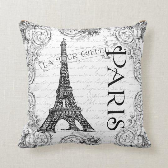 Paris Eiffel Tower Pillow 16 X 16: Paris Eiffel Tower French Scrolls Throw Pillow