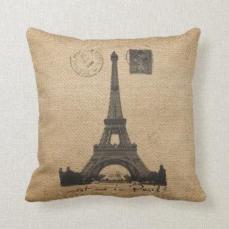Paris Eiffel Tower Gay Burlap Wedding Personalized Throw Pillow