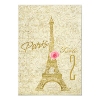 Paris Eiffel Tower Gold & Pink Table Number Card
