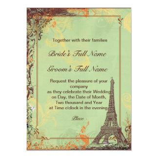 "Paris Eiffel Tower Green Wedding Invite 5.5"" X 7.5"" Invitation Card"