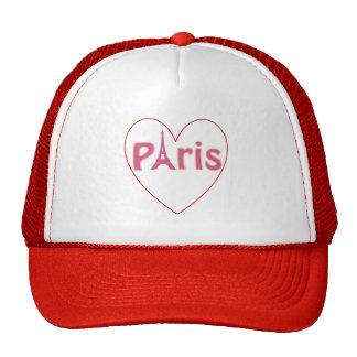 Paris Eiffel Tower Heart Trucker Hat