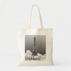 Paris Eiffel Tower In Cloud Canvas Crafts Shopping Tote Bag at Zazzle