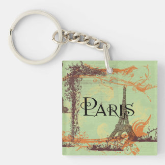 Paris Eiffel Tower in Green Single-Sided Square Acrylic Keychain