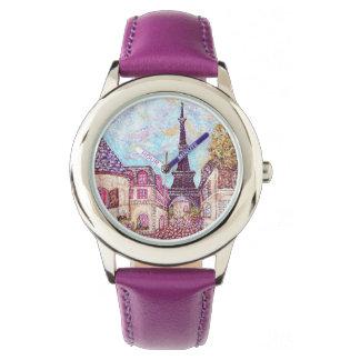 Paris Eiffel Tower inspired landscape purple watch