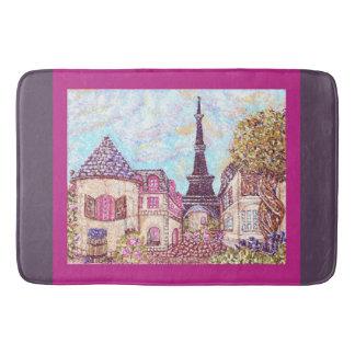 Paris Eiffel Tower inspired pointillism bath mat Bath Mats