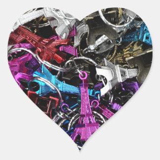 Paris Eiffel Tower Keyrings Heart Sticker