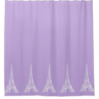 Paris Eiffel Tower Lavender Shower Curtain