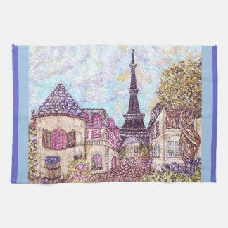 Paris Eiffel Tower like pointillism kitchen towel