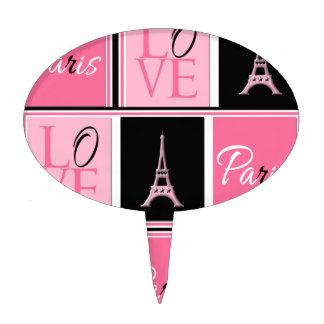Paris Eiffel Tower Love Pink Black Cake Topper