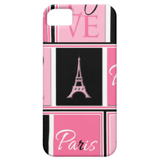 Paris Eiffel Tower Love Pink Black iPhone 5 Covers
