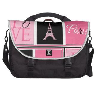 Paris Eiffel Tower Love Pink Black Laptop Bags