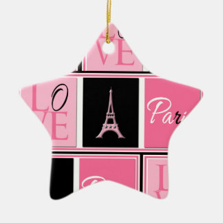 Paris Eiffel Tower Love Pink Black Christmas Ornament