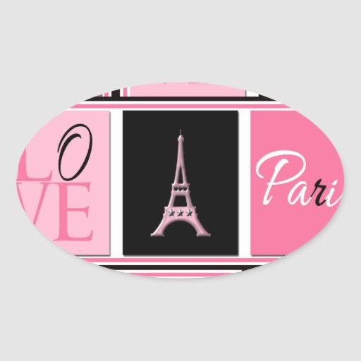 Paris Eiffel Tower Love Pink Black Oval Sticker