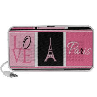 Paris Eiffel Tower Love Pink Black Portable Speaker