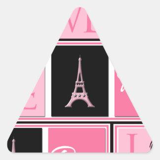 Paris Eiffel Tower Love Pink Black Triangle Sticker