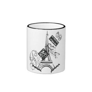 Paris Eiffel Tower Ringer Coffee Mug