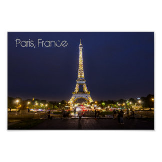 Paris Eiffel Tower Night Lights Poster