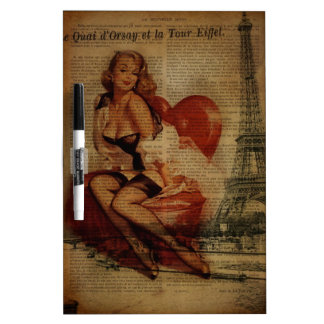 Paris Eiffel tower Pin Up Girl Bachelorette Party Dry Erase Board