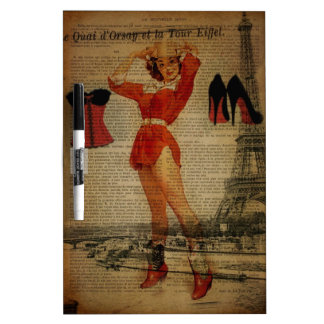 Paris Eiffel tower Pin Up Girl Bachelorette Party Dry-Erase Board