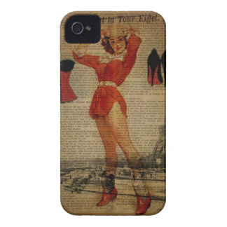 Paris Eiffel tower Pin Up Girl Bachelorette Party iPhone 4 Case