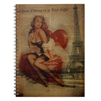Paris Eiffel tower Pin Up Girl Bachelorette Party Notebook