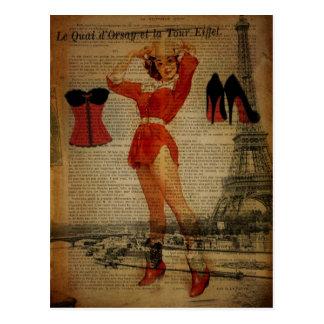 Paris Eiffel tower Pin Up Girl Bachelorette Party Postcard