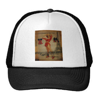 Paris Eiffel tower Pin Up Girl Bachelorette Party Trucker Hat