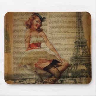 Paris eiffel tower pin up girl sailor mouse pad