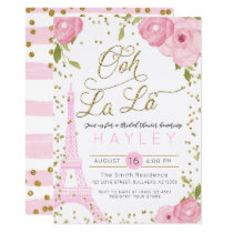 Paris Eiffel Tower Pink Gold Bridal Shower Invite
