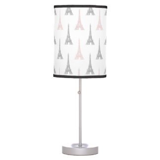 Paris Eiffel Tower Pink Gray White Table Lamp