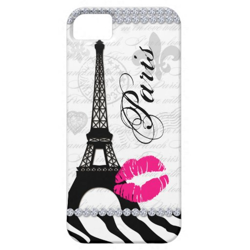 paris eiffel tower pink lips cell phone cover iphone 5 case zazzle. Black Bedroom Furniture Sets. Home Design Ideas
