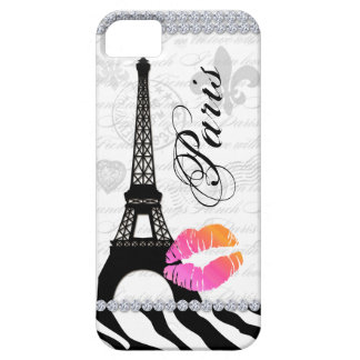 Paris Eiffel Tower Pink Lips Cell Phone Cover OP iPhone 5 Case