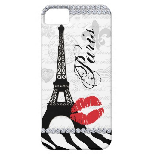 Paris Eiffel Tower Pink Lips Cell Phone Cover red iPhone 5 Cover
