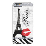 Paris Eiffel Tower Pink Lips Cell Phone Cover red Barely There iPhone 6 Case