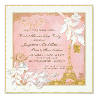 Paris Eiffel Tower Pink n Gold Elegant Bridal Tea Card