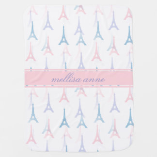 Paris Eiffel Tower Pink Personalized Baby Blanket