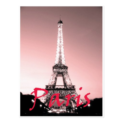 Paris Eiffel Tower Pink Postcard