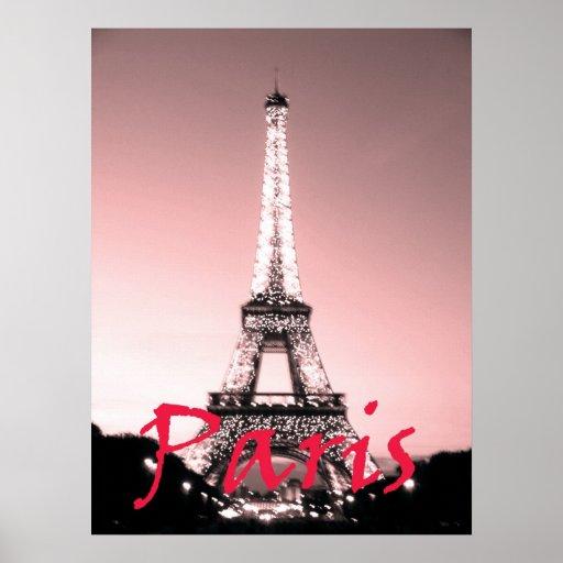 As Creation Pink Paris Pattern Eiffel Tower Childrens: Paris Eiffel Tower Pink Poster