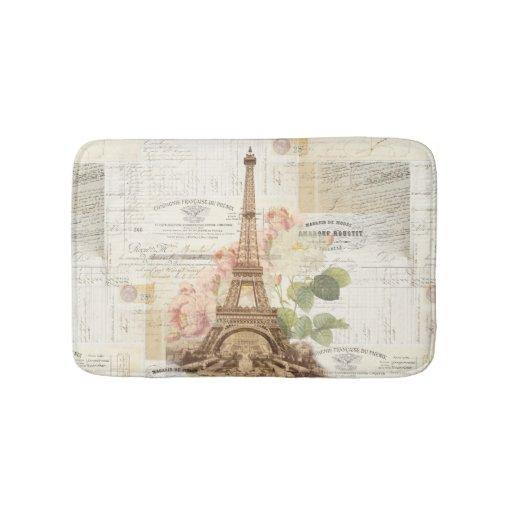 Paris Eiffel Tower Pink Roses Bath Rug Bath Mats : Zazzle