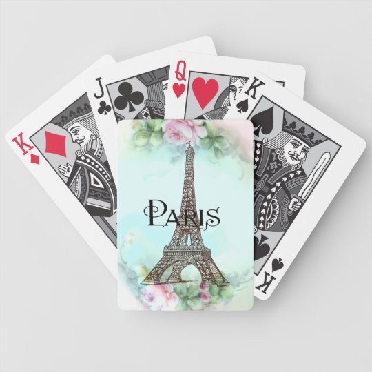 Paris Eiffel Tower & Pink Roses Bicycle Playing Cards