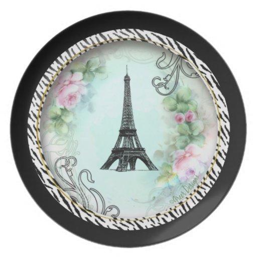 Paris Eiffel Tower & Pink Roses Dinner Plate