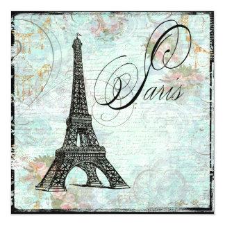 Paris Eiffel Tower & Pink Roses Invite