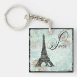 Paris Eiffel Tower & Pink Roses Single-Sided Square Acrylic Keychain
