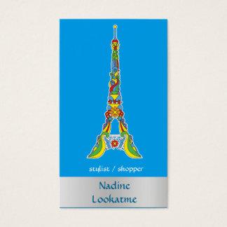 Paris Eiffel tower pop-art stylish silhouette Business Card