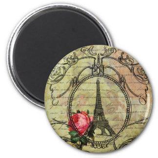 Paris Eiffel Tower & Red Rose Steampunk 2 Inch Round Magnet