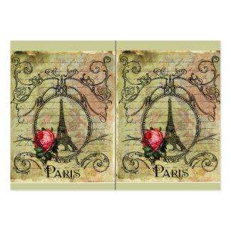 Paris Eiffel Tower & Red Rose Steampunk Business Card
