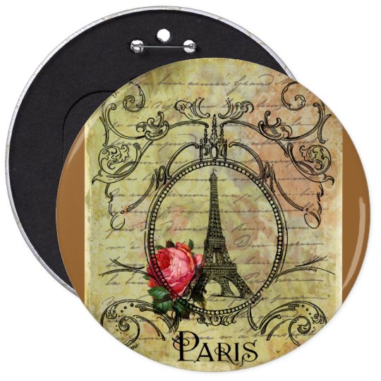 Paris Eiffel Tower & Red Rose Steampunk Button