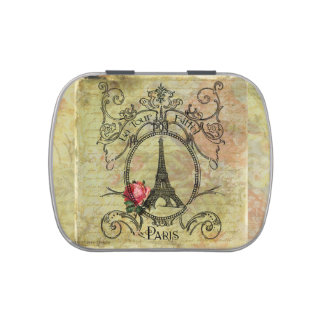 Paris Eiffel Tower & Red Rose Steampunk Jelly Belly Tins